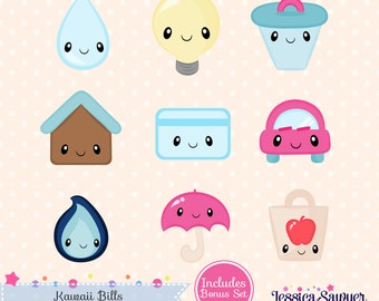 INSTANT DOWNLOAD, kawaii bills clipart and vectors for personal and commercial use