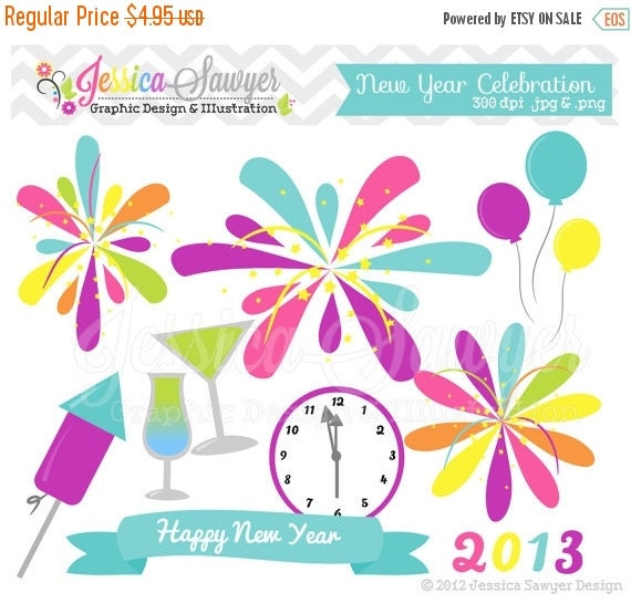 80% OFF - INSTANT DOWNLOAD,  new years clipart - fireworks graphic - digital element - celebration - scrapbook