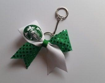Starbucks Inspired Cheer Bow Key Chain
