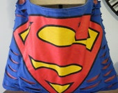 Superman Upcycled/Recycled Tshirt Cross Body Bag