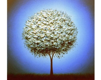 Print of White Tree Painting, Photo Print of White Blossom Tree Art, Contemporary Art Poster, White Tree on Blue Night Photographic Print
