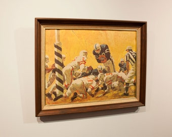 GOAL LINE STAND - Vintage Lou Feck Football Painting in 1960's Wood Frame - Old School Football