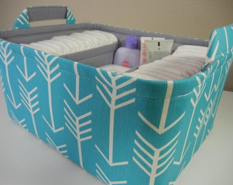 """Ex Large Diaper Caddy-14""""x 10""""x 7""""(CHOOSE Basket & Lining COLOR)Two Dividers-Baby Gift-Fabric Storage Organizer-""""Turquoise Arrow"""""""