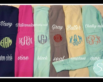 Long Sleeve Comfort Colors 4410 Long Sleeve Pocket Tee, Monogrammed Long sleeve, Monogrammed Comfort Colors, Pocket Tee