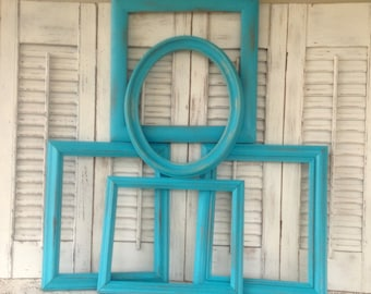 Turquoise Blue Empty Frame Wall Gallery - 5 Piece Open Frame Collection - Blue Wall Decor