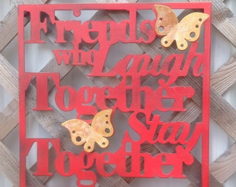 Friends Wall Sign, Red Metal Wall Decor, Metal Sign, Friendship,  Wall Words, Cottage Chic Wall Hanging