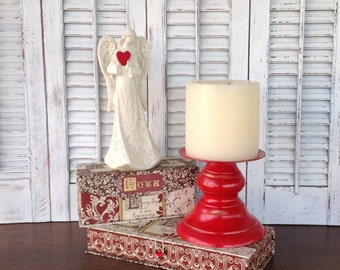 Red Chunky Pillar Candle Holder - Cottage Chic Art Deco Table Top