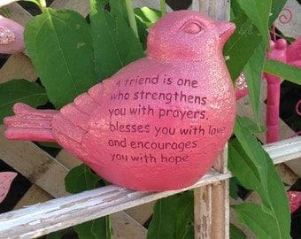 Sentiment Bird Statue - A Friend Is ... Pink Bird - Encouragement Friendship Blessing Hope - Garden Bird
