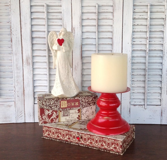 Red chunky pillar candle holder christmas cottage chic art for Christmas pillar candle holders