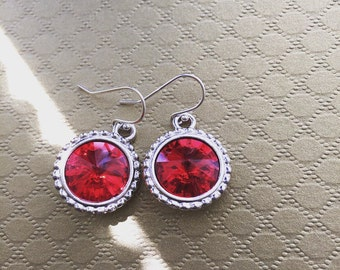 Red Swarovski Crystal Rivoli Drop Earrings. Swarovski Earrings. Red Earrings. Weddings. Classic Jewelry. Crystal Earrings. Sugarplum Gallery