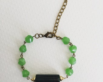 Green Beaded Bracelet, Green Bracelet, Beaded Bracelet, Boho Jewelry, Unique Jewelry