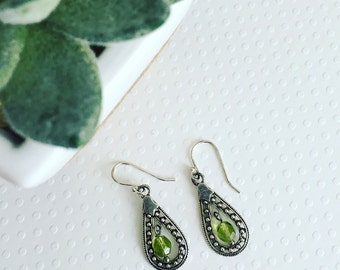 Green Citrine Drop Sterling Silver Earrings. Green earrings. Boho earrings. Chic. Summer style. Gift for her.