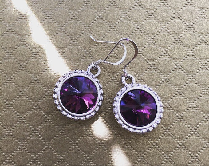 Featured listing image: Amethyst Swarovski Crystal Rivoli Drop Earrings, Swarovski Earrings, Purple Earrings, Weddings, Classic Jewelry, Crystal