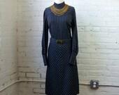 Wool Dress 1970s Vintage Gray Pinstripe Work Wear MEDIUM LARGE 70s Long Sleeve Striped Dress Drop Waist Hip Hugger Belt Knits by Francis X
