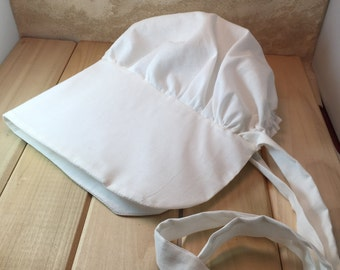 Pioneer Bonnet /Little House Prairie Bonnet/ Solid White /Easter / Historic / Reenactment / Pre-School / Youth Girls / Adult