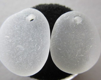 White Sea Glass Top Drilled Pair - Beach Glass - Earrings Supply