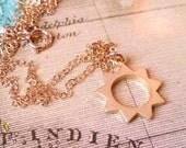 Gold Sun Necklace, Minimal Jewelry, Sunburst Necklace, Space