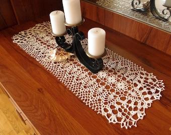 Crochet table runner White lace table runner Large crochet doily Large crochet table runner Table decor Crocheted runner Home decor