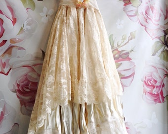 Ivory & cream lace satin boho wedding dress by mermaidmisskristin