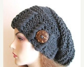 SALE Slouchy Beanie Slouch Hats Oversized Baggy Hipster Hat with Button womens fall winter accessory Charcoal Grey Chunky Hand Made Knit