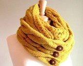 SALE Infinity Loop Scarf Braided Cable Lightweight Knit Neckwarmer Circle Scarves with Buttons Mustard Gold Yellow Women Girls Accessories