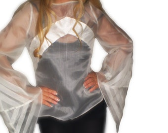 Origami silk organza  wedding blouse- Custom made art to wear- Origami fashion by FedRaDD