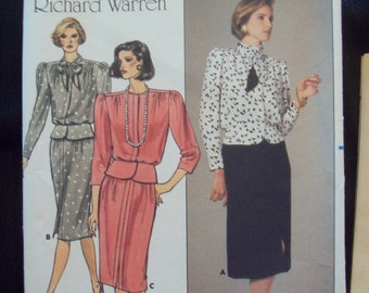 1980s Richard Warren Design Blouson Top & Skirt Pattern Vintage Butterick 3455 Sizes 8-12 Uncut Pattern