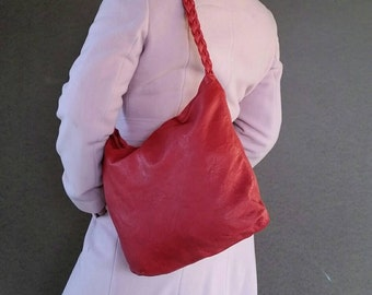 Red Leather Bag with Braided Handle, Fashion Purse,  Original Rustic Shoulder Handbag claudia
