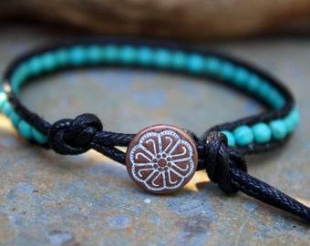 Single Wrap Bracelet, Turquoise Magnesite, Beaded Wrap Bracelet, Vegan Wrap Bracelet, Cruelty Free Jewelry, Stone Bracelet, Vegan Jewelry