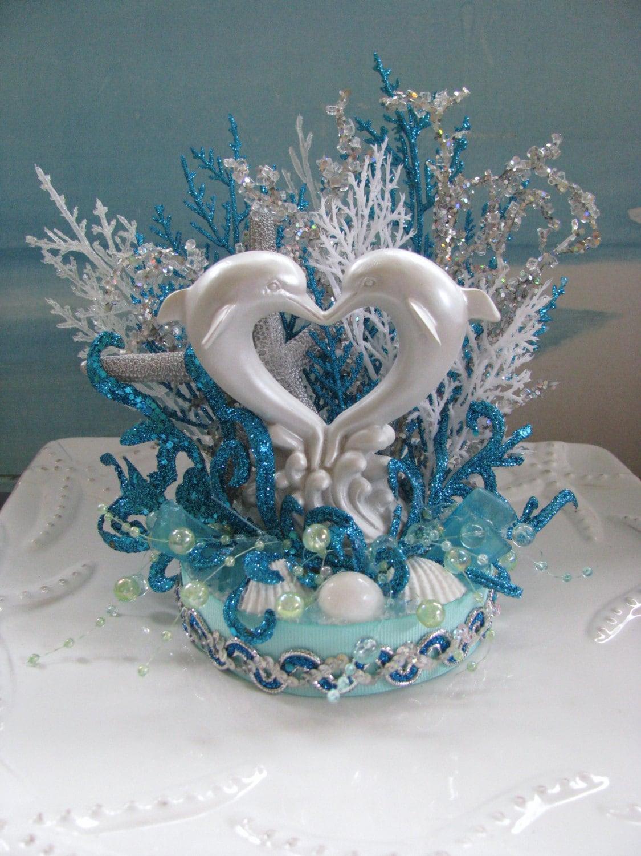 Dolphin Beach Wedding Cake TopperSeashell Wedding Cake Topper