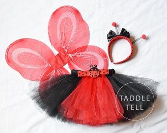 LADY BUG HALLOWEEN Costume Tutu, Includes Tutu, Headband & Wings - Sizes 18, 24 Months, 2t, 3t, 4t, 5t