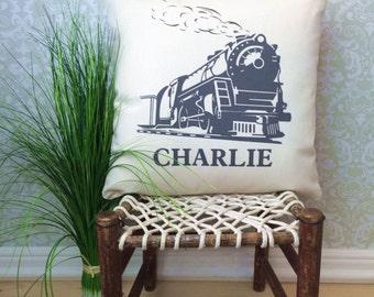 Train Locomotive Pillow Cover, Train Pillow, Home decor pillow, Personalized Pillow, Zip closure