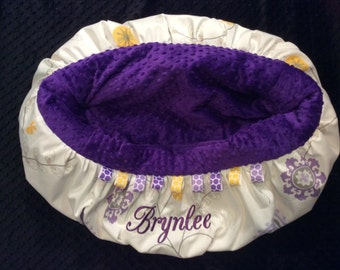 Dark Purple Flowered Shopping Cart Cover