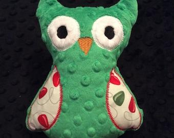 Christmas Green Minky Owl, CLEARANCE SALE