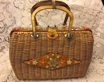 Vintage 60s Plastic Coated Wicker Basket Purse Carmel Lucite Handles With Floral Design