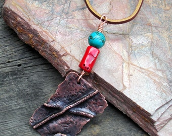 copper pendant, rustic necklace, copper brass jewelry, foldformed pendant,