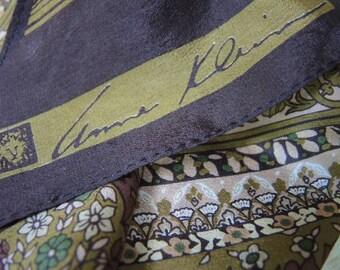 Vintage 1970s silk scarf Anne Klein  8 x 69 inches
