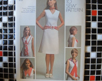 vintage 1970s simplicity sewing pattern 9236 misses basic dress with detachable collars and tie size 14 uncut