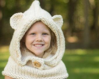 Hooded Cowl, Polar Bear Hat, Animal Hat, Polar Bear Cowl, Hooded Polar Bear Cowl