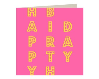 Bright Pink Happy Birthday Arty Hipster Greetings Card