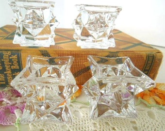 Avon 8 Star Shaped Candle Holders, Lead Crystal Candle Holders, Set of 4, Vintage Candleholders