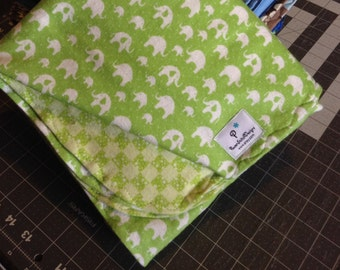 ELEPHANTS Reversible, XL Double Layer Flannel Receiving Blanket. Ready to go.