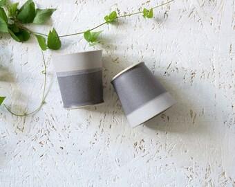Gray Ceramic Espresso Cups, Modern Espresso Cups, Gray And Purple Tea Cups, Ceramic Tumblers, Modern Pottery, Stoneware Gray Cup, Set Of Two