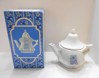 Vintage Avon China Teapot (16) Perfumed Candle Holder--MIB