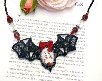 Handcrafted  Fizzing Cherry necklace // cabaret burlesque style