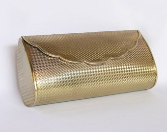 Vintage Hardshell Metal Clutch Gold Toned by Richjewel - made in Japan Rich Jewel Purse