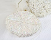 ON SALE 10% OFF Sequin Faux Pearl Clutch Vintage Wedding Special Occasion