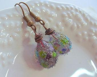 Wildflower Teardrop Sparkle Lampwork Earrings, Wire Earrings, Rustic Copper Wire Jewelry, Multi Color, Womens Jewelry, Gift for Her