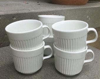 Set of 6 White English Ironstone Cups