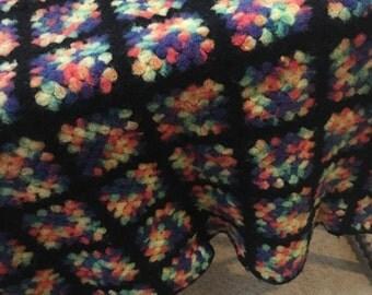 """Vintage  Wool  Granny Square  Afghan 72""""by 58"""""""